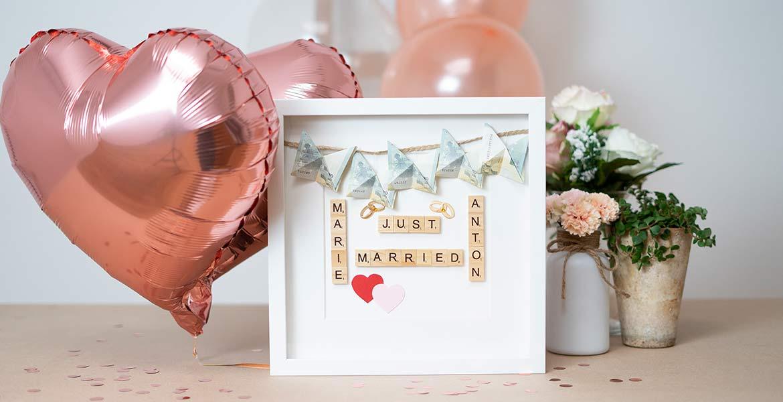originelle Geschenke zur Hochzeit Geld im Objektrahmen