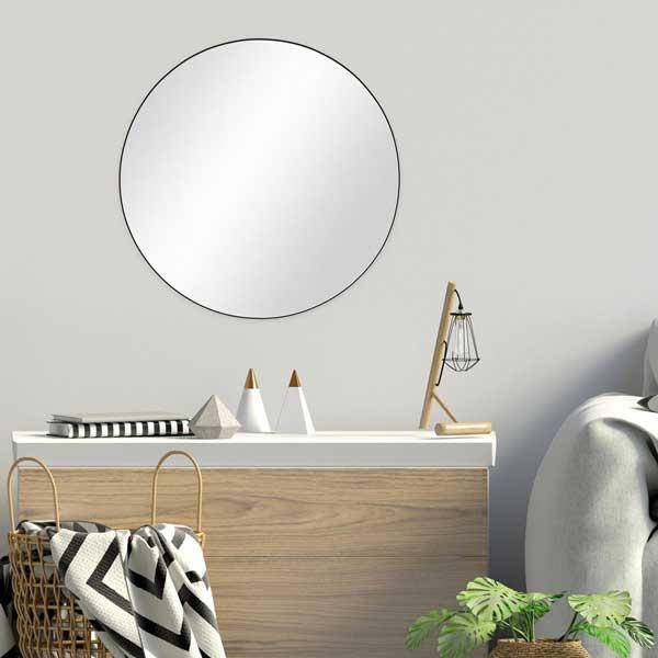 Spiegel rund mit schwarzem Metallrahmen