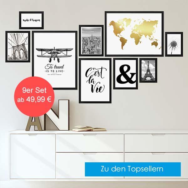 9er Bilderrahmen-Set Modern Schwarz Kategoriebild Topseller