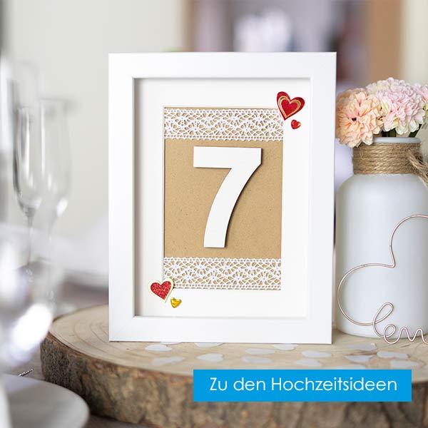 Hochzeitsideen mit Bilderrahmen Tischnummer
