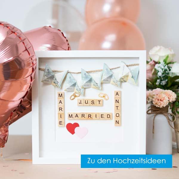Hochzeitsideen mit Bilderrahmen Geldgeschenk