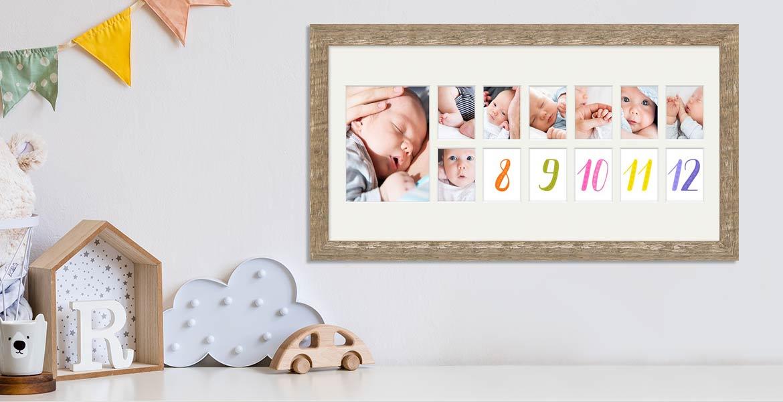 Baby-Bilderrahmen für die ersten 12 Monate