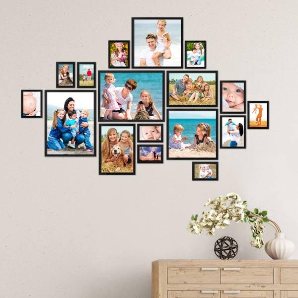 Bilderrahmen für Familienfotos 17er Set in schwarz