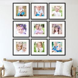 Bilderrahmen für Familienfotos 9er Set in schwarz