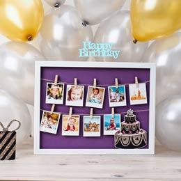 Objektrahmen mit Fotos als Geburtstagsgeschenk