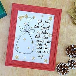 DIY Weihnachtsgeschenk Drahtengel im Bilderrahmen
