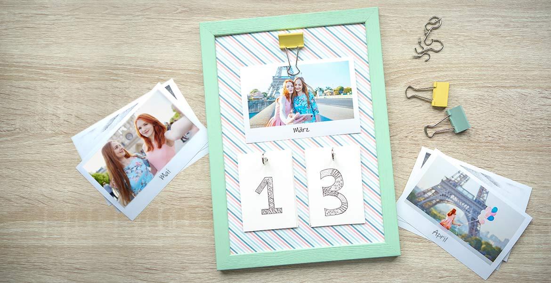 Kalender selber basteln mit einem Bilderrahmen