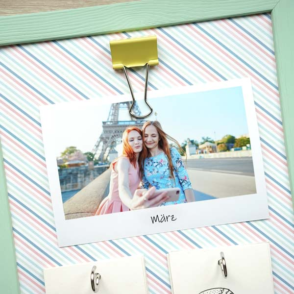 Kalender selber basteln mit Foto und Klammer