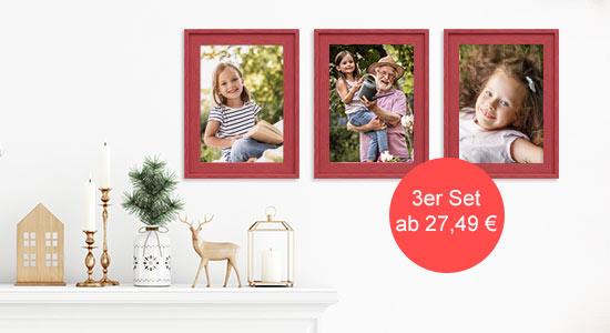 Weihnachtsgeschenkidee 3er Bilderrahmen-Set Landhaus-Stil in rot