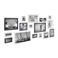17er Set Bilderrahmen für grosse Bilderwand Massivholz Größen 10x10 bis 30x45 cm, inkl. Zubehör, zur Gestaltung einer Bildergalerie