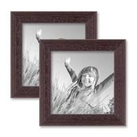 2er Set Landhaus-Bilderrahmen 10x10 cm Nuss Massivholz mit Glasscheibe und Zubehör / zum Stellen oder Hängen / Fotorahmen  – Bild 1