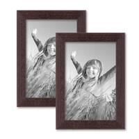 2er Set Landhaus-Bilderrahmen 10x15 cm Nuss Massivholz mit Glasscheibe und Zubehör / zum Stellen oder Hängen / Fotorahmen  – Bild 1
