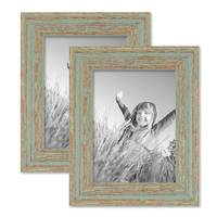 Vintage Bilderrahmen 2er Set 15x20 cm Grau-Grün Shabby-Chic