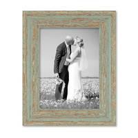 2er Set Vintage Bilderrahmen 15x20 cm Grau-Grün Shabby-Chic Massivholz mit Glasscheibe und Zubehör / Fotorahmen / Nostalgierahmen  – Bild 5