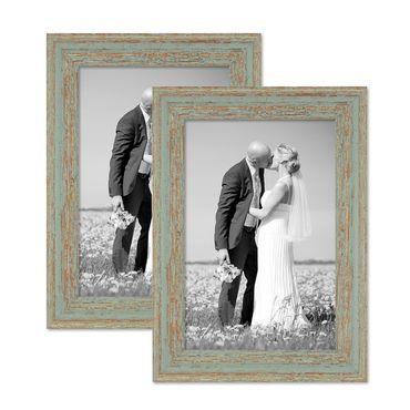 2er Set Vintage Bilderrahmen 21x30 cm / DIN A4 Grau-Grün Shabby-Chic Massivholz mit Glasscheibe und Zubehör / Fotorahmen / Nostalgierahmen