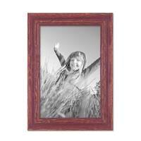 3er Set Vintage Bilderrahmen 20x30 cm Holz Rot-braun Shabby-Chic Massivholz mit Glasscheibe und Zubehör / Fotorahmen / Nostalgierahmen  – Bild 4