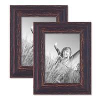 Vintage Bilderrahmen 2er Set 13x18 cm Holz Dunkelbraun Shabby-Chic