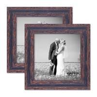 2er Set Bilderrahmen 20x20 cm Holz Dunkelbraun Shabby-Chic Vintage Massivholz mit Glasscheibe und Zubehör / Fotorahmen / Nostalgierahmen
