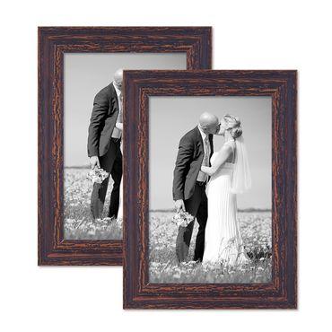 2er Set Vintage Bilderrahmen 21x30 cm / DIN A4 Holz Dunkelbraun Shabby-Chic Massivholz mit Glasscheibe und Zubehör / Fotorahmen / Nostalgierahmen