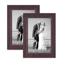 2er Set Vintage Bilderrahmen 21x30 cm / DIN A4 Holz Dunkelbraun Shabby-Chic Massivholz mit Glasscheibe und Zubehör / Fotorahmen / Nostalgierahmen  – Bild 1
