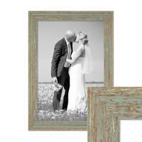 Vintage Bilderrahmen 30x42 cm / DIN A3 Grau-Grün Shabby-Chic Massivholz mit Glasscheibe und Zubehör / Fotorahmen / Nostalgierahmen  – Bild 1
