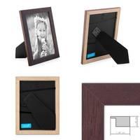 Bilderrahmen 18x24 cm Nuss Modern Massivholz-Rahmen mit Glasscheibe und Zubehör / Fotorahmen  – Bild 2