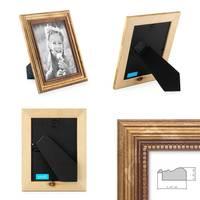 2er Set Bilderrahmen 15x15 cm Gold Barock Antik Massivholz mit Glasscheibe und Zubehör / Fotorahmen / Barock-Rahmen  – Bild 2