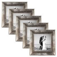 5er Bilderrahmen-Set 15x15 cm Silber Barock Antik/ Barockrahmen