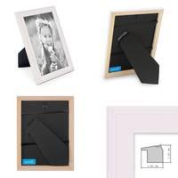 2er Set Landhaus-Bilderrahmen 15x15 cm Weiss Massivholz mit Glasscheibe und Zubehör / zum Stellen oder Hängen / Fotorahmen  – Bild 2