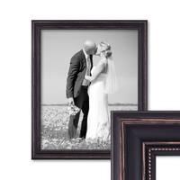 Bilderrahmen 50x60 cm Dunkelbraun Landhaus-Stil Breit Massivholz mit Glasscheibe und Zubehör / Fotorahmen / Shabby chic  – Bild 1