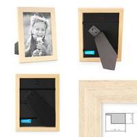 3er Set Bilderrahmen 10x10 cm Sonoma Eiche Hell Modern Massivholz-Rahmen mit Glasscheibe inkl. Zubehör / Fotorahmen  – Bild 2