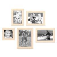 5er Set Bilderrahmen 10x10, 10x15, 13x18 und 15x20 cm Sonoma Eiche Hell Modern Massivholz-Rahmen mit Glasscheibe inkl. Zubehör / Fotorahmen