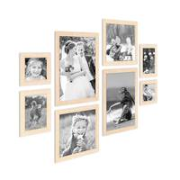 8er-Set Bilderrahmen Sonoma Eiche Hell Modern Massivholz-Rahmen, je 2 mal 10x10, 10x15, 20x20 und 20x30 cm, inkl. Zubehör, zur Gestaltung einer Bilderwand oder Fotowand / Fotorahmen