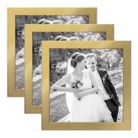 3er Set Bilderrahmen 20x20 cm Gold Modern Massivholz-Rahmen mit Glasscheibe inkl. Zubehör / Fotorahmen  – Bild 1