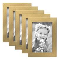 5er Set Bilderrahmen 10x15 cm Gold Modern Massivholz-Rahmen mit Glasscheibe inkl. Zubehör / Fotorahmen  – Bild 1