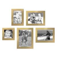 5er Set Bilderrahmen 10x10, 10x15, 13x18 und 15x20 cm Gold Modern Massivholz-Rahmen mit Glasscheibe inkl. Zubehör / Fotorahmen