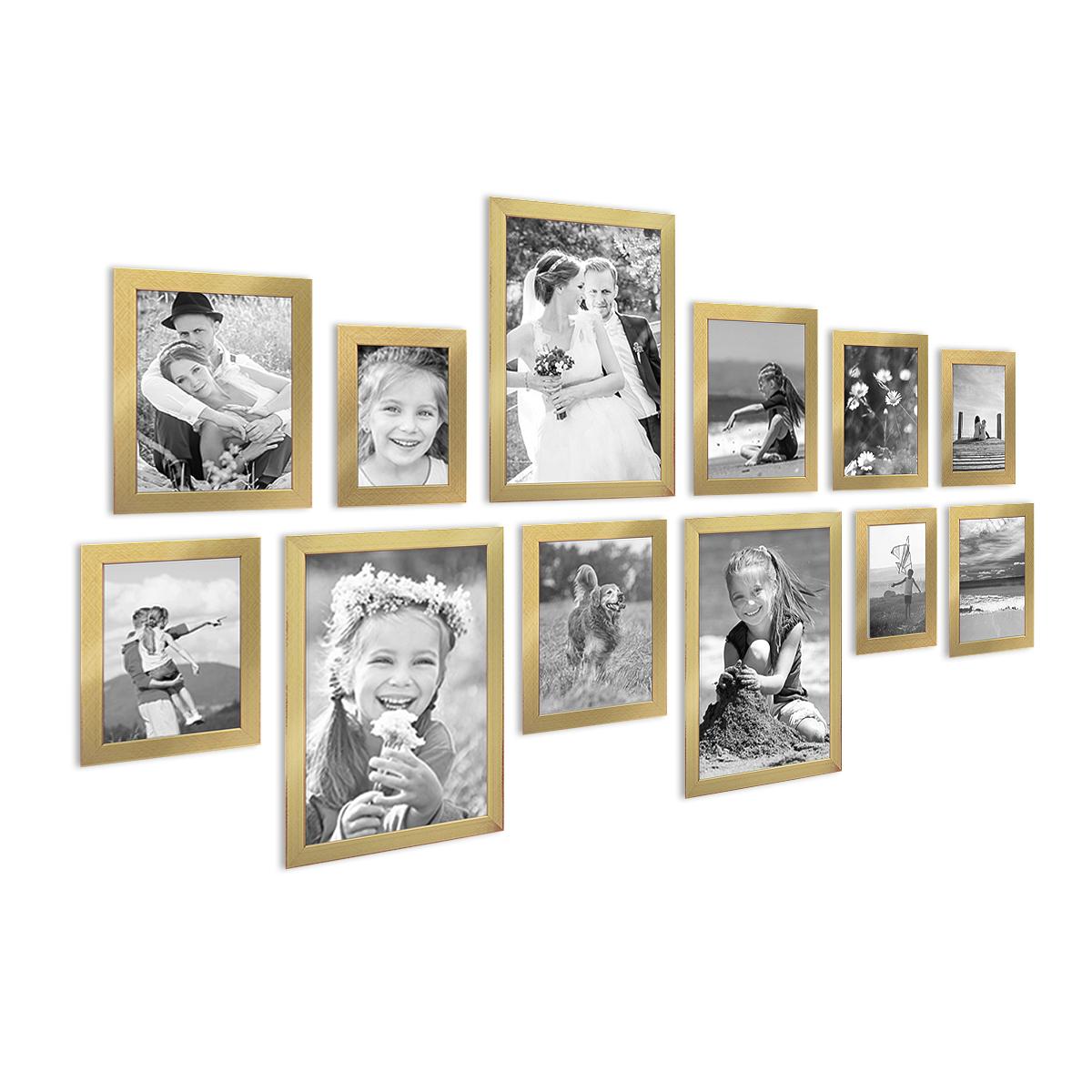 12er set bilderrahmen modern gold massivholz 10x15 bis 20x30 cm inklusive zubeh r fotorahmen. Black Bedroom Furniture Sets. Home Design Ideas