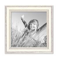 2er Set Bilderrahmen Shabby-Chic Landhaus-Stil Weiss 20x20 cm Massivholz mit Glasscheibe und Zubehör / Fotorahmen – Bild 3