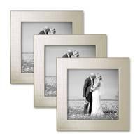 3er Set Bilderrahmen 15x15 cm Silber Modern Massivholz-Rahmen mit Glasscheibe inkl. Zubehör / Fotorahmen  – Bild 7