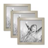 3er Set Bilderrahmen 20x20 cm Silber Modern Massivholz-Rahmen mit Glasscheibe inkl. Zubehör / Fotorahmen  – Bild 1