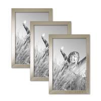 3er Set Bilderrahmen 20x30 cm Silber Modern Massivholz-Rahmen mit Glasscheibe inkl. Zubehör / Fotorahmen  – Bild 1