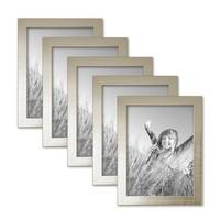 5er Set Bilderrahmen 15x20 cm Silber Modern Massivholz-Rahmen mit Glasscheibe inkl. Zubehör / Fotorahmen  – Bild 1