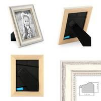 3er Set Bilderrahmen Shabby-Chic Landhaus-Stil Weiss 10x15 cm Massivholz mit Glasscheibe und Zubehör / Fotorahmen – Bild 2