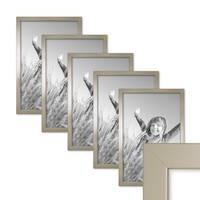 5er Set Bilderrahmen 30x42 cm / DIN A3 Silber Modern Massivholz-Rahmen mit Glasscheibe inkl. Zubehör / Fotorahmen  – Bild 1