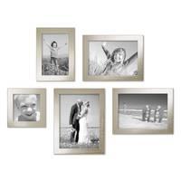 5er Set Bilderrahmen 10x10, 10x15, 13x18 und 15x20 cm Silber Modern Massivholz-Rahmen mit Glasscheibe inkl. Zubehör / Fotorahmen