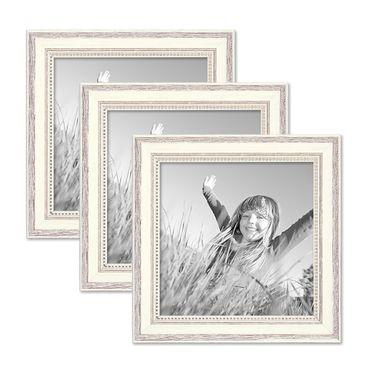3er Set Bilderrahmen Shabby-Chic Landhaus-Stil Weiss 20x20 cm Massivholz mit Glasscheibe und Zubehör / Fotorahmen