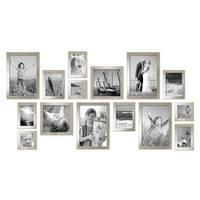 15er Set Bilderrahmen Modern Silber Massivholz 10x15 bis 20x30 cm inklusive Zubehör zur Gestaltung einer Collage / Bildergalerie – Bild 3