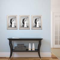 3er Set Bilderrahmen Shabby-Chic Landhaus-Stil Weiss 20x30 cm Massivholz mit Glasscheibe und Zubehör / Fotorahmen – Bild 3
