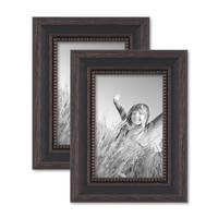 2er Set Bilderrahmen 10x15 cm Shabby-Chic Landhaus-Stil Dunkelbraun Massivholz mit Glasscheibe und Zubehör / Fotorahmen