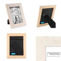 3er Bilderrahmen-Set 10x15 cm Strandhaus Rustikal Weiss Massivholz mit Glasscheibe inkl. Zubehör / Fotorahmen  – Bild 3